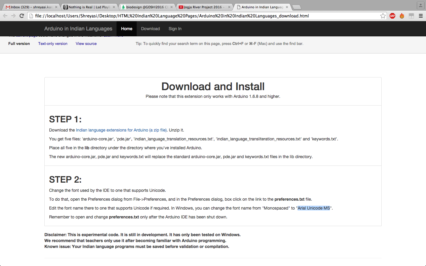Screen Shot of installation guideline